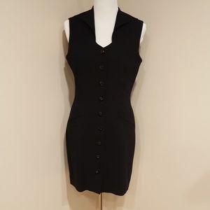 Kenar Black Button Down Vintage Mini Dress